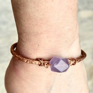 Genuine Purple Amethyst Gemstone Copper Bracelet